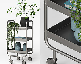 Slim Grey Metal Trolley 3D