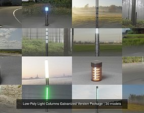 3D model Low-Poly Light Columns Galvanized Version Package
