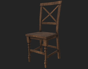 3D asset low-poly Chair low poly