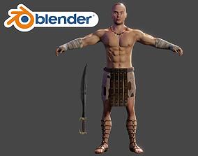 3D model Human Male Warrior Swordsman Blender