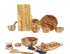 Pottery Barn Olive wood serveware collection 3D model