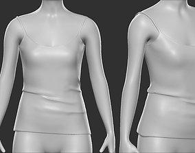 3D asset Basic Female Shirt