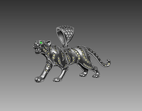 Tiger pendant 4 cm with stones 3D print model