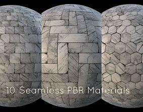 3D model game-ready White marble tiles PBR material pack