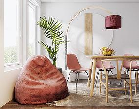 Red Dining Room Design 3D