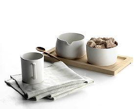 3D Sugar and Creamer Set on Tray with Cup Towel