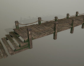 wooden pier 3D asset low-poly