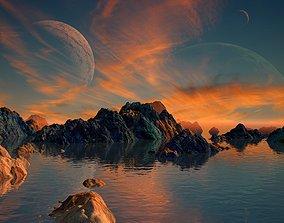 3D Alien Planet Sci-Fi Fantasy Scenery