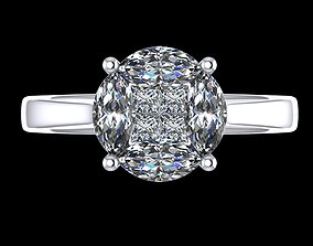 3D printable model illusion ring setting 3 carat