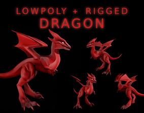 3D asset Mini Fire Dragon