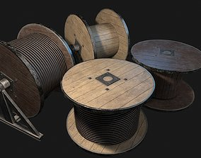 Low Poly PBR Wooden Cable Reel 3D asset