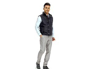 3D Standing Casual Man with Black Vest