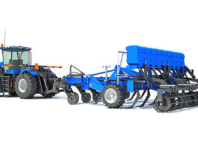 3D Tractor with Disc Harrow New Holland