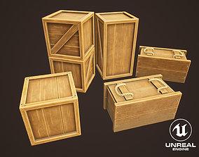 Western Wooden Boxes 3D asset