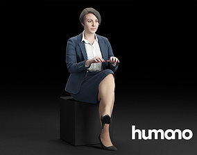 3D Humano Elegant Business Woman Sitting and tapping 0119