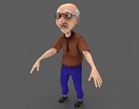 animated Oldman Lowpoly 3D Model Rigged and Animated