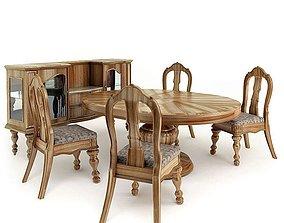 3D Classic American Wooden Kitchen Set