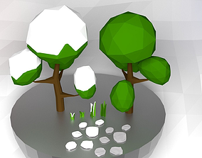 3D asset realtime Low Poly Nature Objects Collection