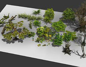 3D model a group plants bushes flower