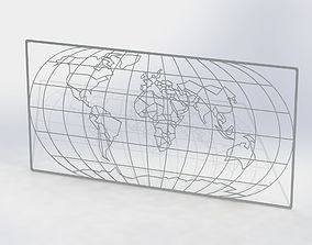 World map 3D printable model