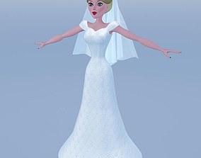 3D Silky blue wedding dressed bride