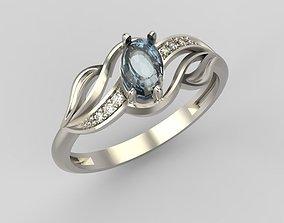 Women Ring with gem and diamonds 3dm stl 3D print model