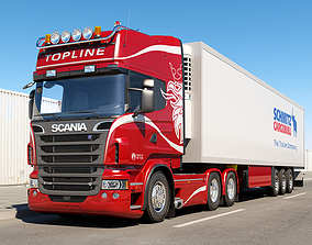 3D model Scania R 6X4 With Trailer