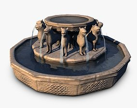 3D model Stone fountain with lions