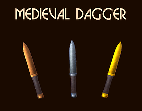 Customizable Medieval Dagger 3D model low-poly