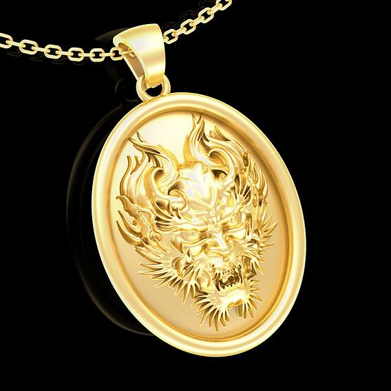 Demon Pendant jewelry Gold 3D print model