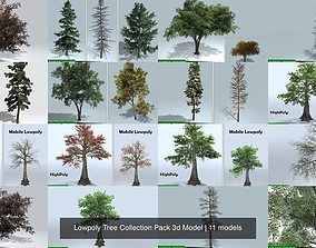 Lowpoly Tree Collection Pack 3d Model PBR
