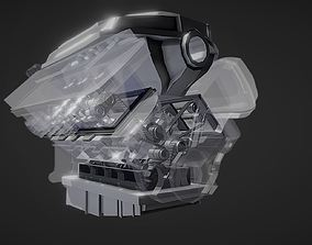 v6 car engine transparent animated 3D model realtime