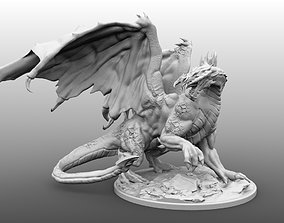 Four Inch Base Black Dragon Miniature 3D printable model