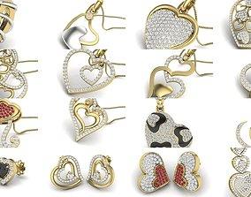 Love valentine ring earrings pendant 3dm render