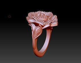 Rose flower ring with leaves 3D printable model