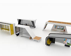 3D BUS STATIONS MODELS-2 5 MODELS