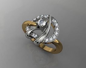 3D printable model nice ring with yellow gold