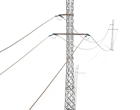 3D Electricity Pole 27 Weathered