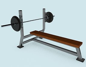 3D asset The flat olympic bench with barbell