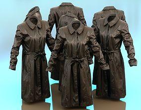Long Black Leather Underworld Coat Closed 3D asset