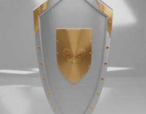 Medieval Kite Shield with Fleur-de-lis emblem 3D model