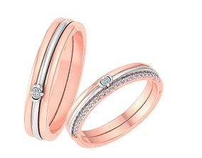 Couple Band Ring 3dm stl render detail gem wedding