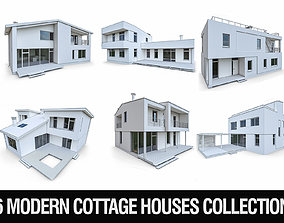 3D asset Modern Cottage Houses- 6 Pack