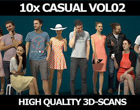 10x Man Woman Scanned Asian Foreground Casual People 3D 1