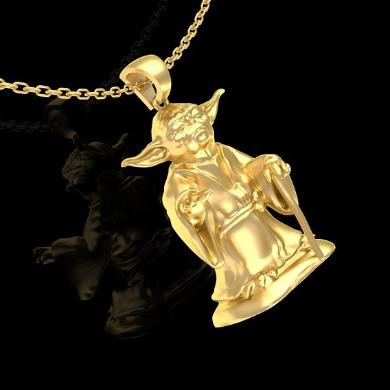 Master Yoda Star Wars Pendant Jewelry Gold 3D print model