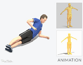 Side plank up and down Exercise Man Animation 3D asset