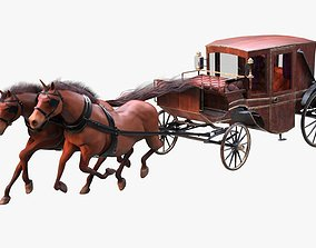 3D model Carriage with Horses