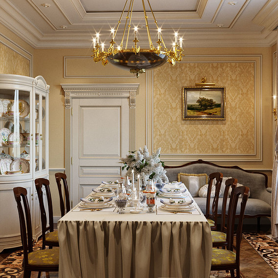 Dining room in classic style
