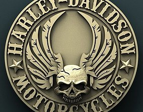 Harley Davidson medallion 3d stl model for cnc 3D print