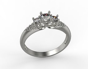 Women ring with diamonds 3dm stl
